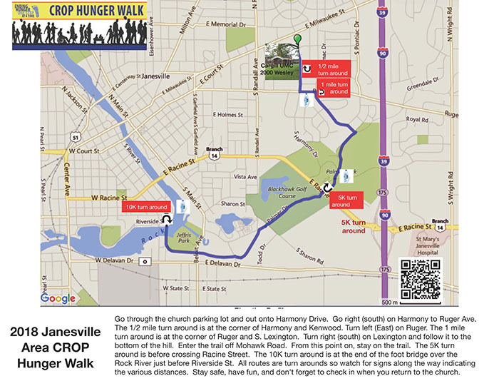 Janesville CROP Hunger Walk map
